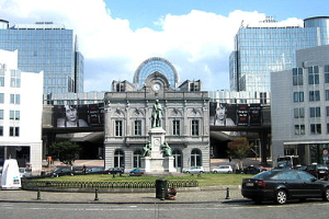 European Parliament: view from Place du Luxembourg, Brussels (Belgium)